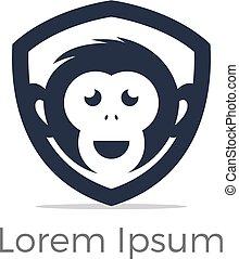 Monkey logo, monkey head in shield icon, chimpanzee vector design.