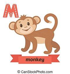 monkey., m, letter., 漂亮, 孩子, 動物, 字母表, 在, vector., 有趣, 卡通, 動物