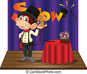 Monkey magician - Illustration of a monkey magician on stage
