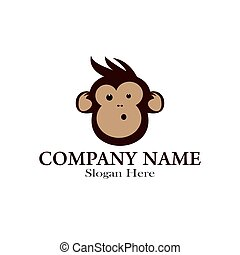Monkey mascot logo design illustration template