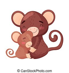 Monkey mom with baby. Vector illustration on white background.