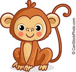Monkey on a white background. Vector illustration