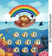 Monkey on the boat fishing