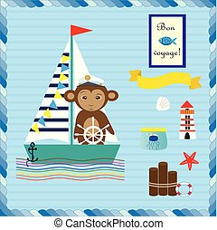 Monkey on the ship. Collection with elements for design in marine theme.