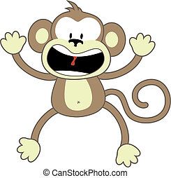 monkey panic scream - isolated cartoon monkey, individual...