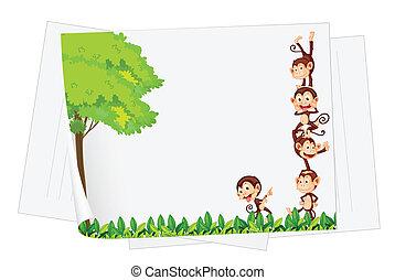 monkey paper - Illustration of monkeys on a piece of paper
