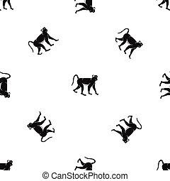 Monkey pattern seamless black