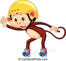 Monkey playig roller skate illustration