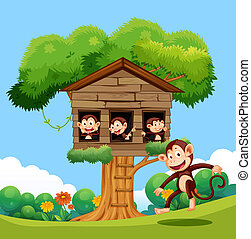 Monkey playing at treehouse