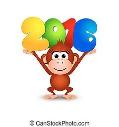 monkey., postkaart, symbool, 2016, jaar, nieuw, 2016, vrolijke