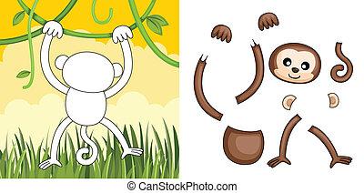 Monkey puzzle - A vector illustration of a monkey puzzle
