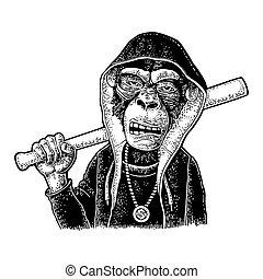 Monkey raper dressed in hoodie, necklace dollar. Vintage...