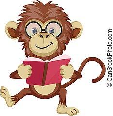 Monkey reading book, illustration, vector on white background.