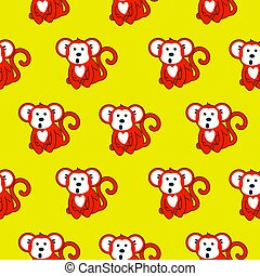 Monkey red and yellow seamless vector pattern.