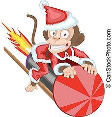 Monkey Santa flying