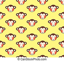 Monkey Seamless on Yellow Background. Vector Illustration