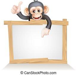 Monkey Sign - Cute cartoon chimp monkey like character...