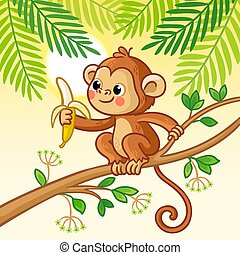 Monkey sits on a tree and eats a banana. Cute animal in cartoon style.