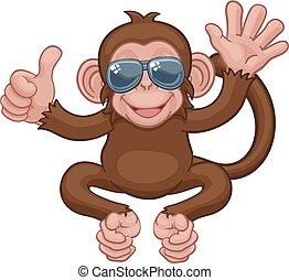 Monkey Sunglasses Waving Thumbs Up Cartoon Animal