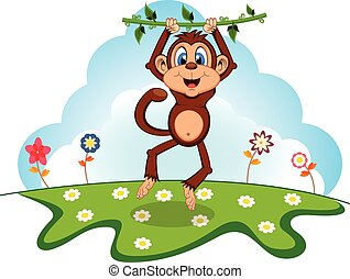 Monkey swinging on vines cartoon