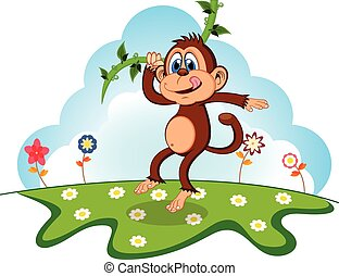 Monkey swinging on vines cartoon in a garden for your design