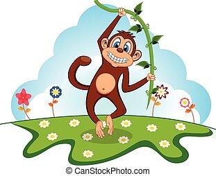 Monkey swinging on vines