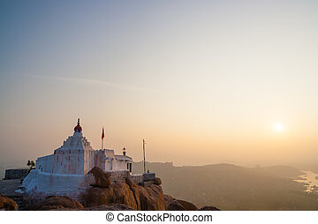 Monkey temple at sunrise hampi india - Monkey temple at ...