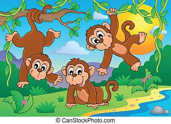Monkey theme image 1 - eps10 vector illustration.