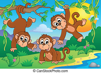Monkey theme image 1 - eps10 vector illustration.