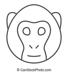 Monkey thin line icon, animal and, simian sign vector graphics, a linear pattern on a white background, eps 10.