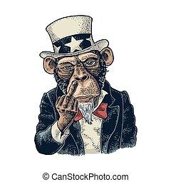 Monkey Uncle Sam with raised middle finger Vintage engraving...