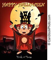 Monkey vampire with castle