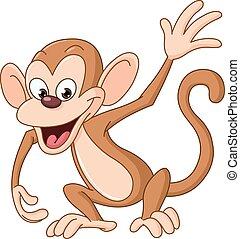 Happy monkey waving hello