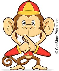 Monkey wearing chinese costume