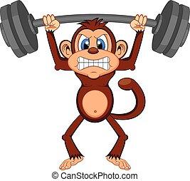 Monkey weightlifting Cartoon - colourfull