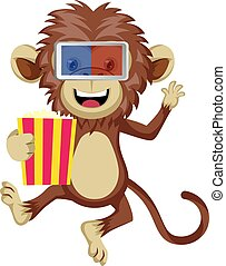 Monkey with 3d glasses, illustration, vector on white background.