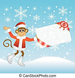 Monkey with a gift card, vector