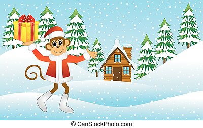 monkey with a gift in the winter forest