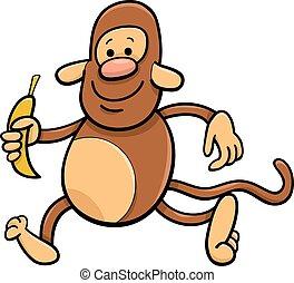 monkey with banana cartoon illustration