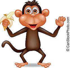 Monkey with banana - Vector illustration of monkey with...