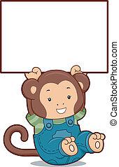 Monkey with Blank Board