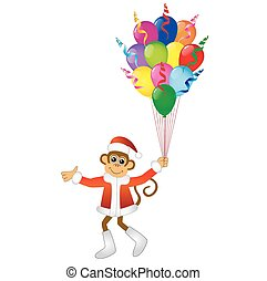 Monkey with bright balloons, vector