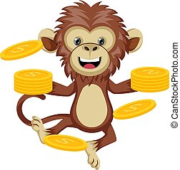 Monkey with coins, illustration, vector on white background.