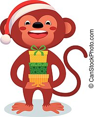 Monkey with gifts New Year