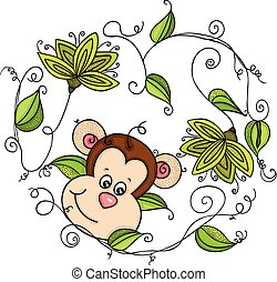 Monkey with green leaves shaped heart frame