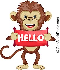 Monkey with hello sign, illustration, vector on white background.