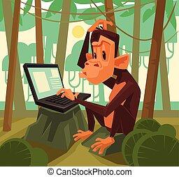 Monkey with laptop