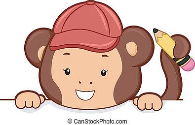 Monkey with Pencil Peeking on Blank Board