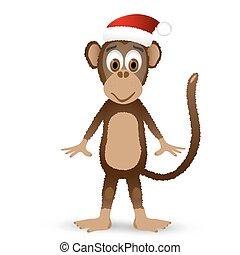 Monkey with santa hat isolated on white background.