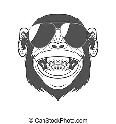 Monkey with sunglasses - Monochrome monkey with sunglasses ...
